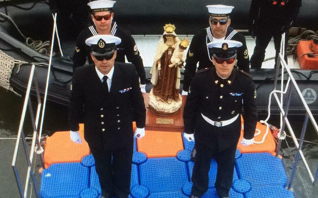 """Visita de la Virgen Peregrina a la base naval  Antártica """"Arturo Prat"""""""