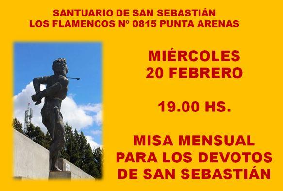 Misa mensual para los devotos de San Sebastián
