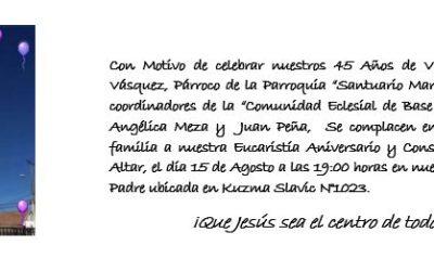 Invitación Eucaristía Aniversario y Consagración de  nuestro Altar